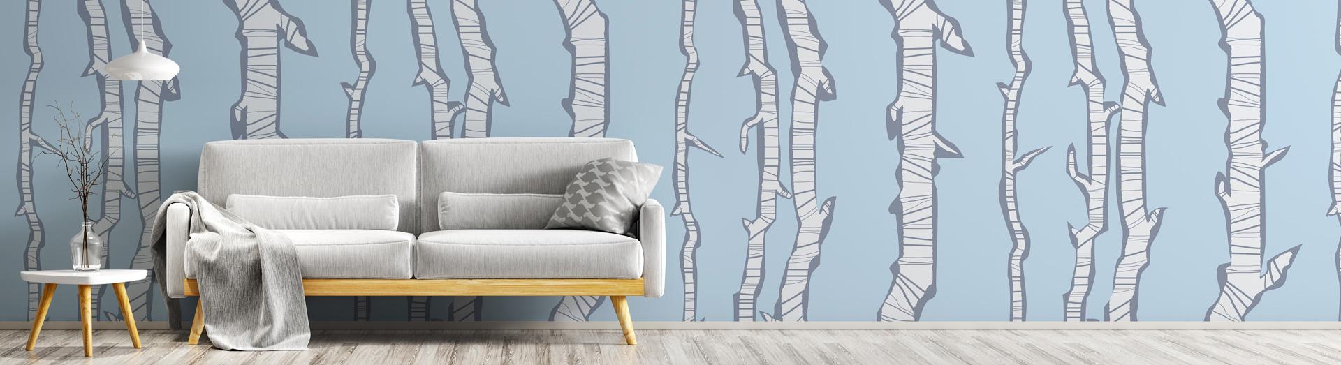 Abbildung individuelle Fototapete im Wohnzimmer